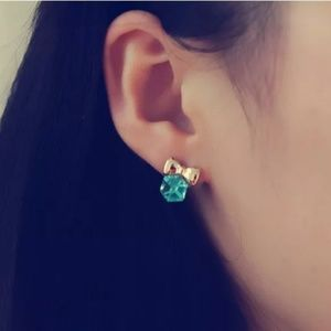 Jewelry - Dazzling Blue Bow-knot Cube Crystal Earrings